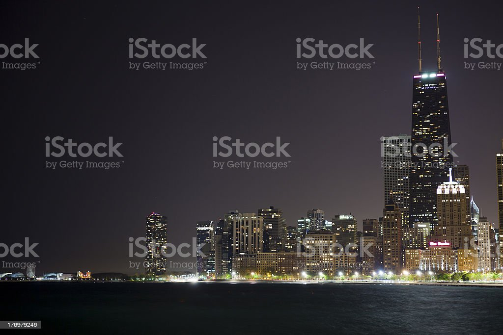 Night View at Downtown Chicago stock photo