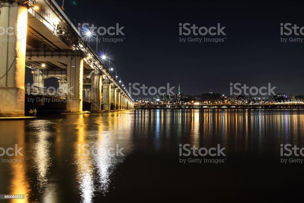 Night view at Hangang river stock photo