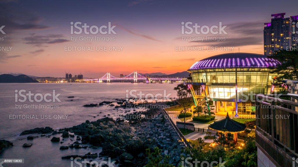 Night view at Nurimaru APEC house in Dongbaekseom Island, Haeundae district, South Korea, 15 august 2017 stock photo