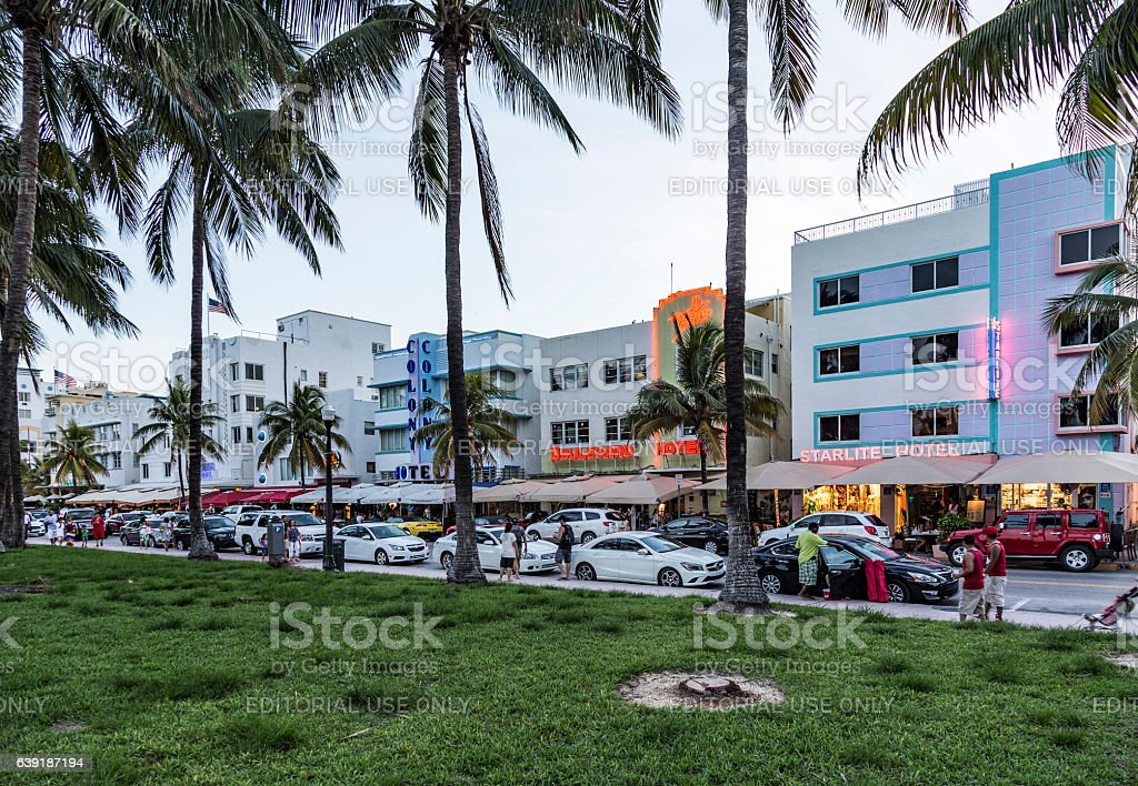 Night view at Ocean drive  in Miami stock photo