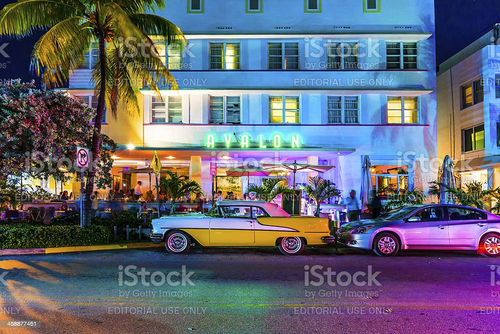 Night view at Ocean drive in South Miami stock photo