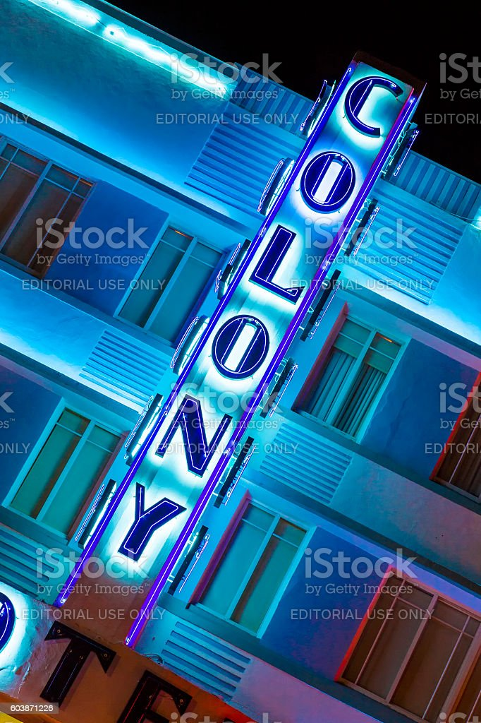Night view at Ocean drive with colony hotel stock photo