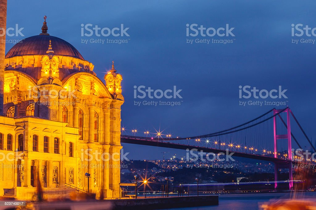 Night view at Ortakoy Mosque in Istanbul stock photo