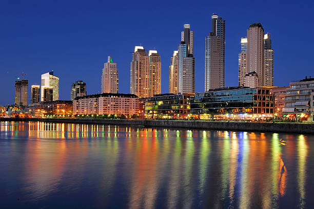 Night view at Puerto Madero, Buenos Aires, Argentina stock photo