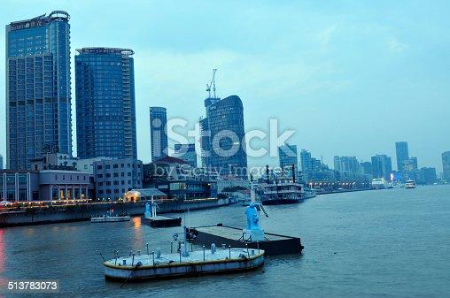 night view at shanghai china, huangpu river and bund