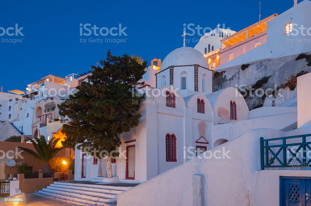 Night view at St. John's church from Fira, Santorini, Grece stock photo