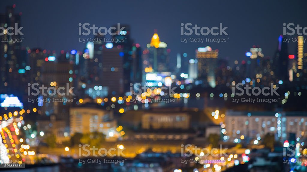 Night view, blurred bokeh lights city downtown royalty-free stock photo