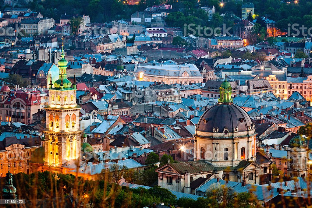 Night view from Castle Hill, Lviv stock photo