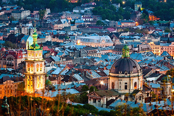 night view from castle hill, lviv - ukraine stock pictures, royalty-free photos & images