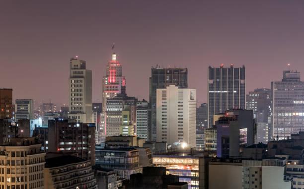 Nachtansicht von der Innenstadt von Sao Paulo – Foto