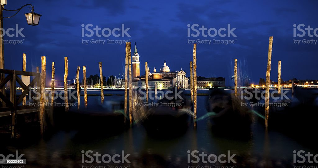 Night view from St. Mark's Square in Venice royalty-free stock photo