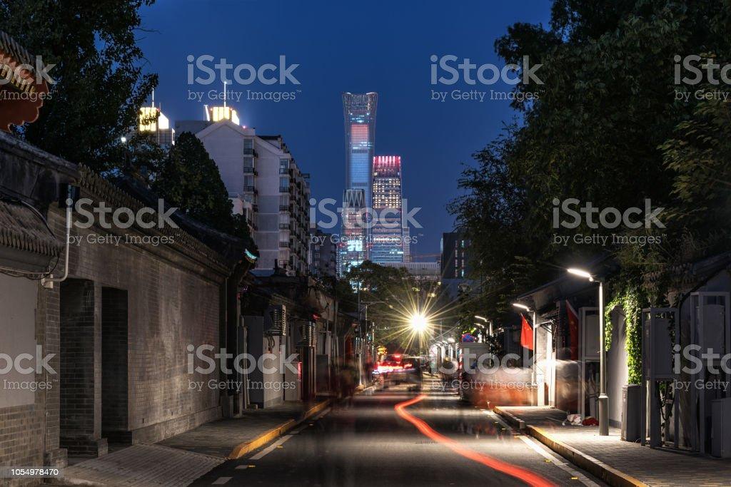 CBD night view in Beijing Hutong stock photo