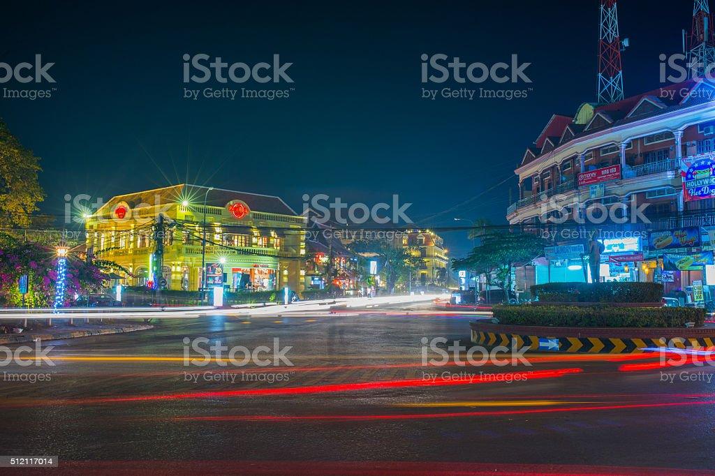 Night View in Siemreap,Cambodia. stock photo