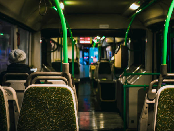 night view in the bus interior modern - toronto streetcar stock photos and pictures