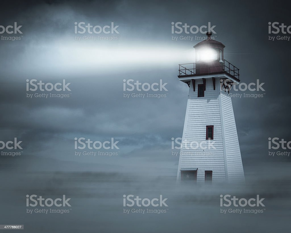 Night view Lighthouse Beam stock photo