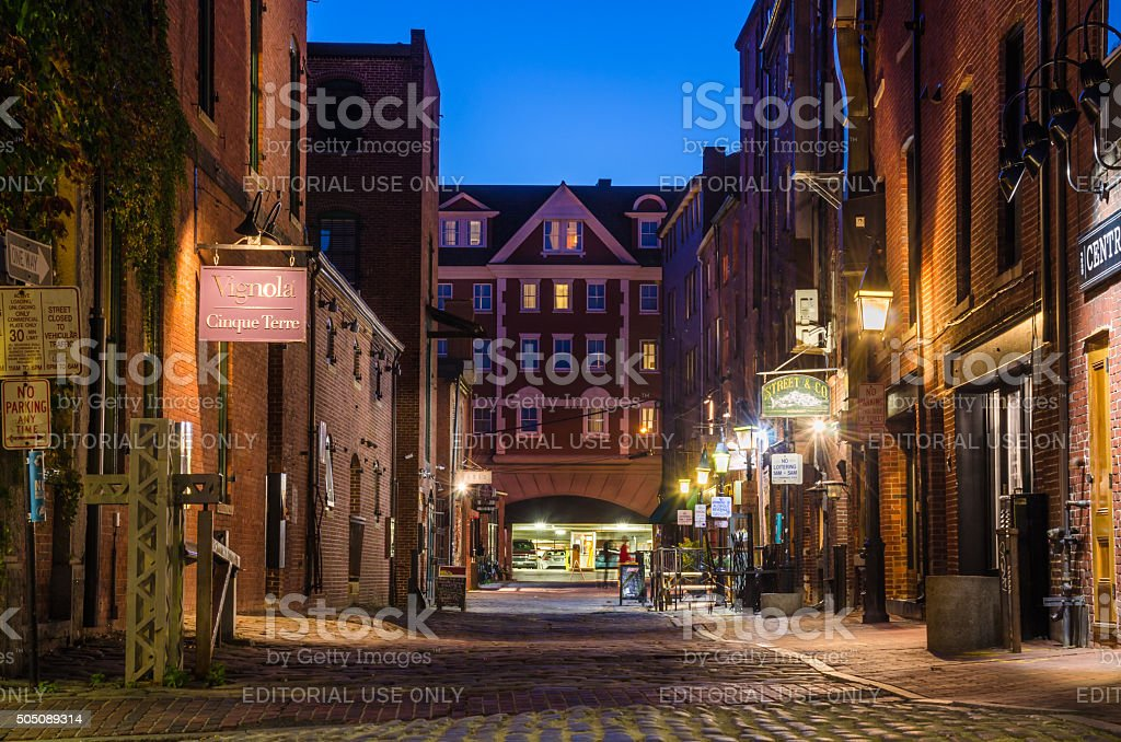 Night View of a Cobbled Street in Portland, ME stock photo