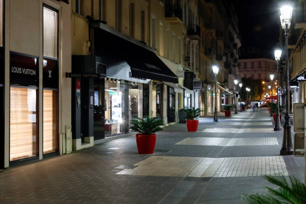 Night view of a narrow street. The city of Nice is a world-famous tourist destination.