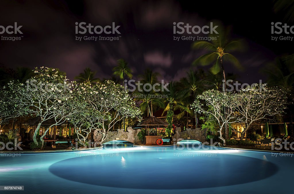 A long exposure of a pool in a Bali Resort. The photo was taken using...
