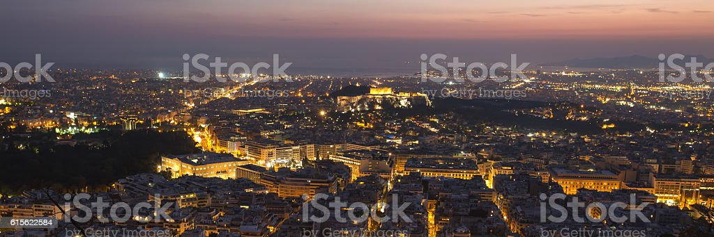 Night view of Acropolis from Lykavittos hill, Athens, Greece stock photo