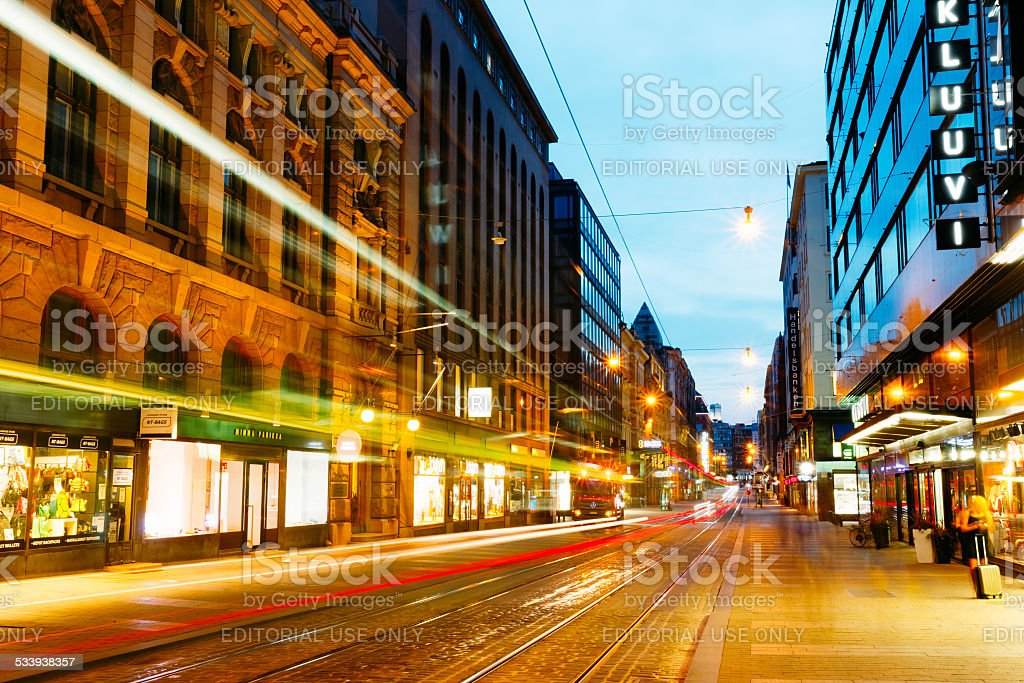Night view of Aleksanterinkatu street in Helsinki stock photo