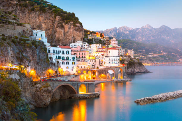Night view of Amalfi cityscape, Italy stock photo