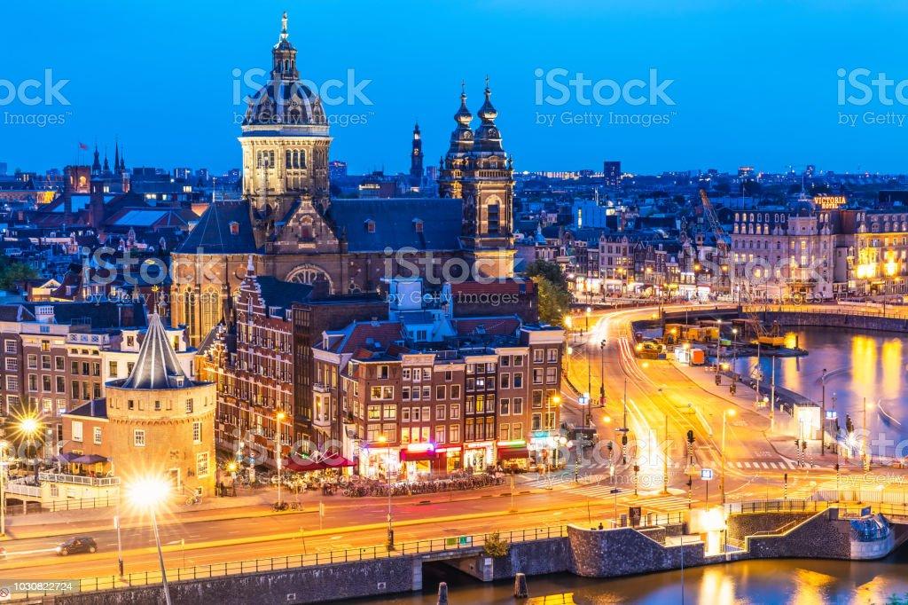 Night view of Amsterdam, Netherlands stock photo