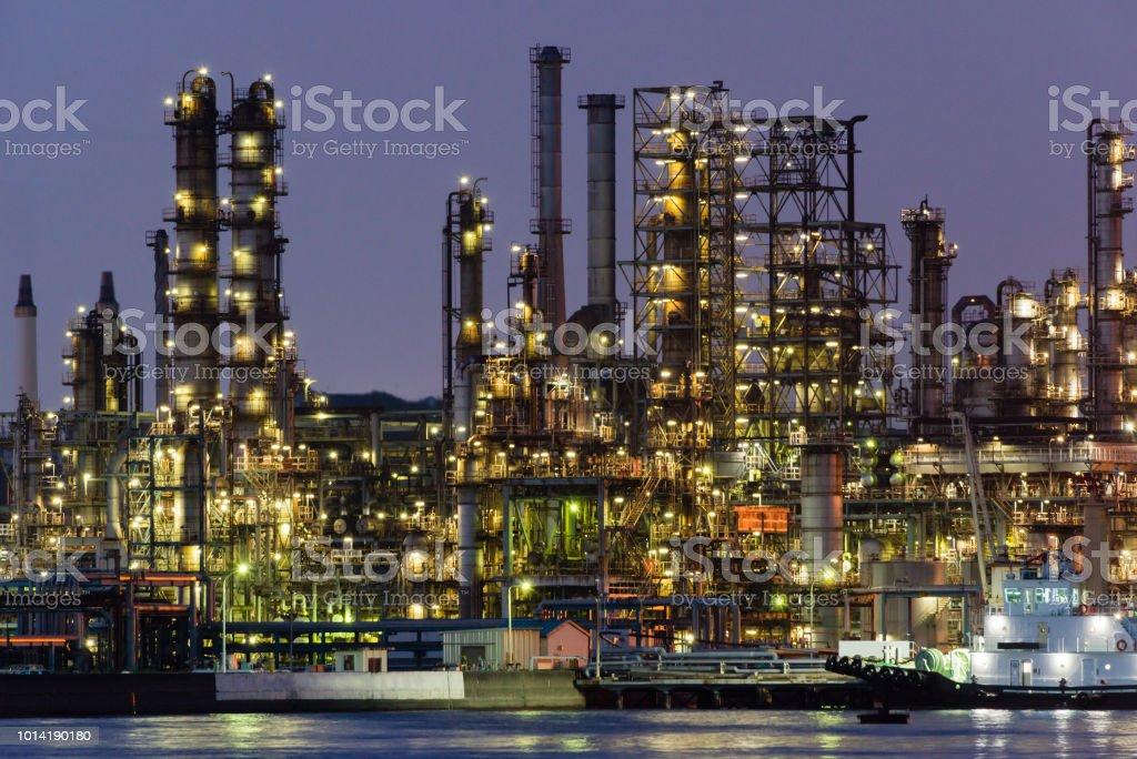 Night view of an oil factory in Yokohama, Japan stock photo