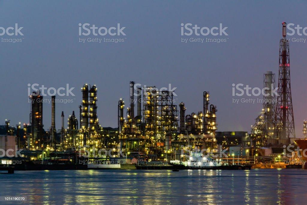 Night View Of An Oil Factory In Yokohama Japan Stock Photo