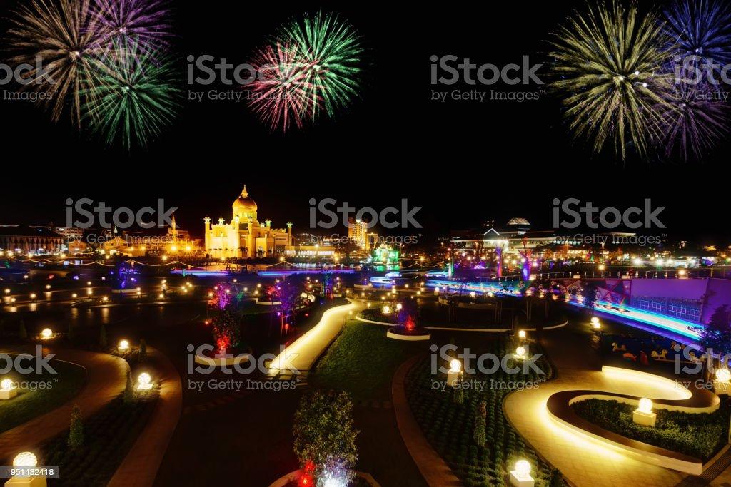 Night view of Bandar Seri Begawan with fireworks, Brunei, Asia stock photo