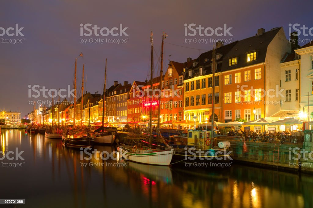 Night view of beautiful Nyhavn Canal. Copenhagen, Denmark. royalty-free stock photo