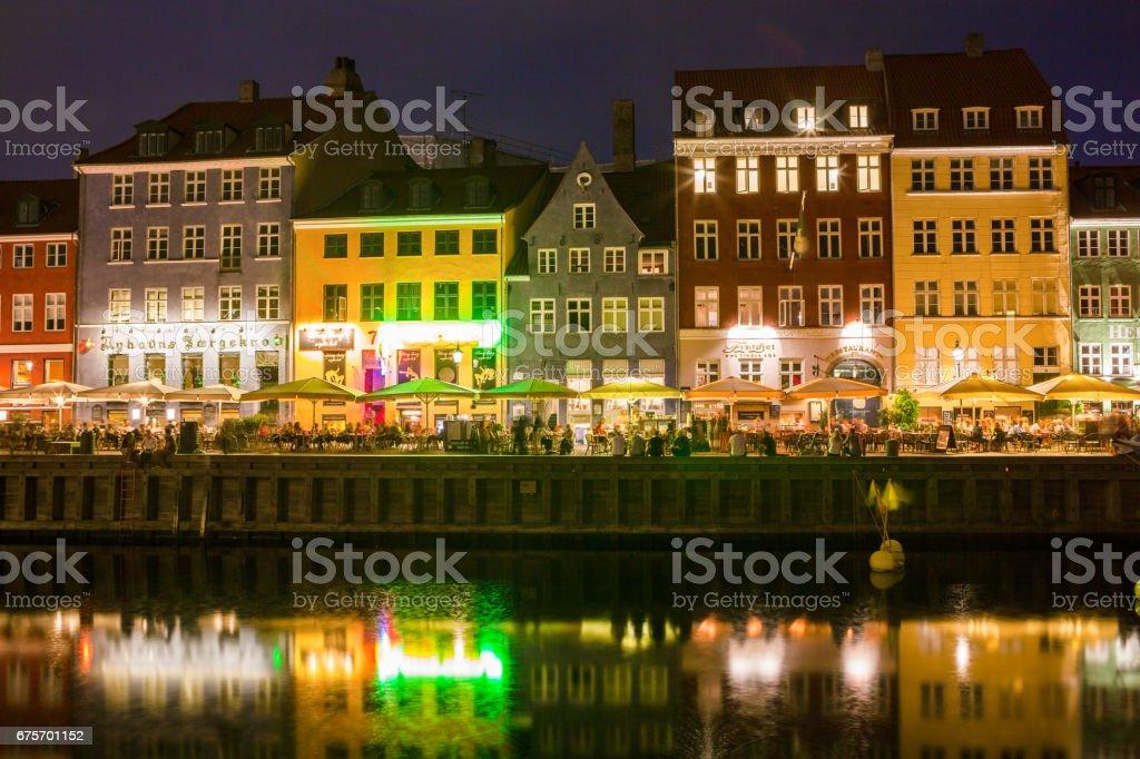 COPENHAGEN, DENMARK - 24 JUN 2016: Night view of beautiful Nyhavn Canal. royalty-free stock photo