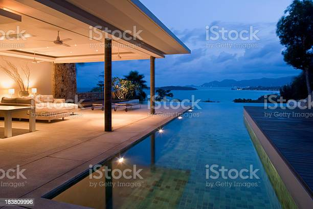 Night View Of Beautiful Villa On Island Stock Photo - Download Image Now