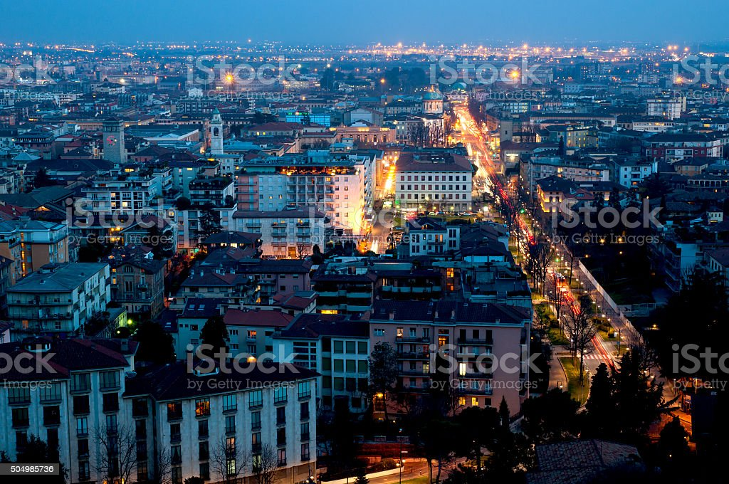 Night view of Bergamo stock photo