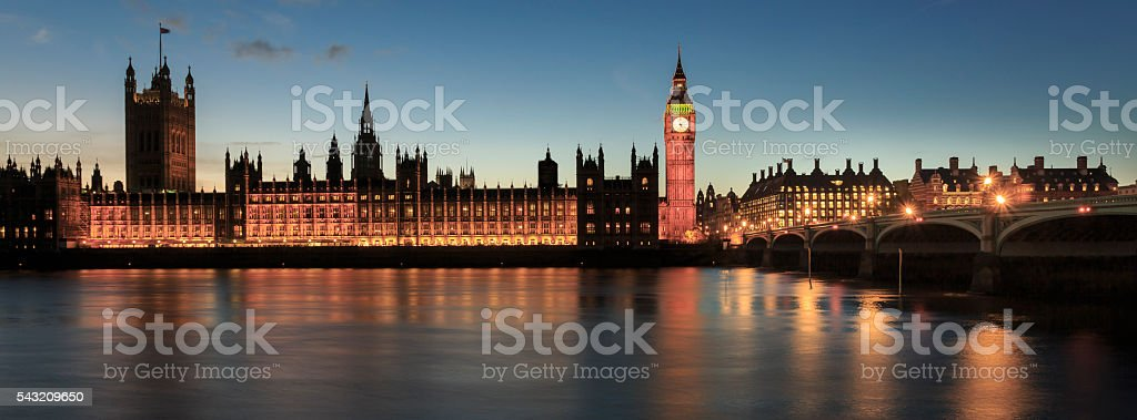 Night view of Big Ben and Westminster Bridge in London stock photo
