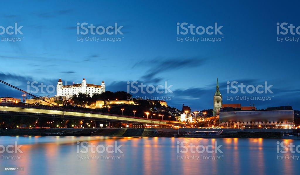 Night view of Bratislava castle and Enbankment stock photo