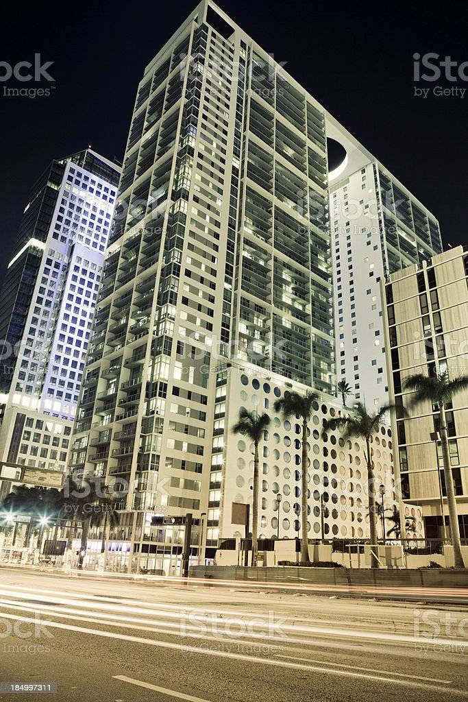 Night view of Brickell stock photo