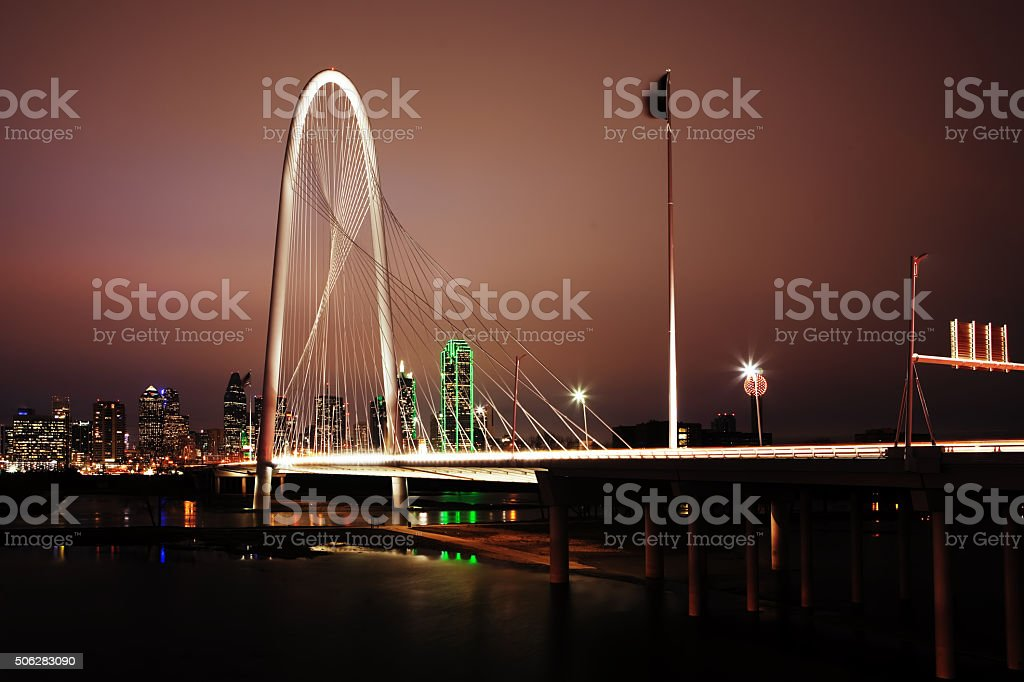 Night view of bridge into Dallas stock photo