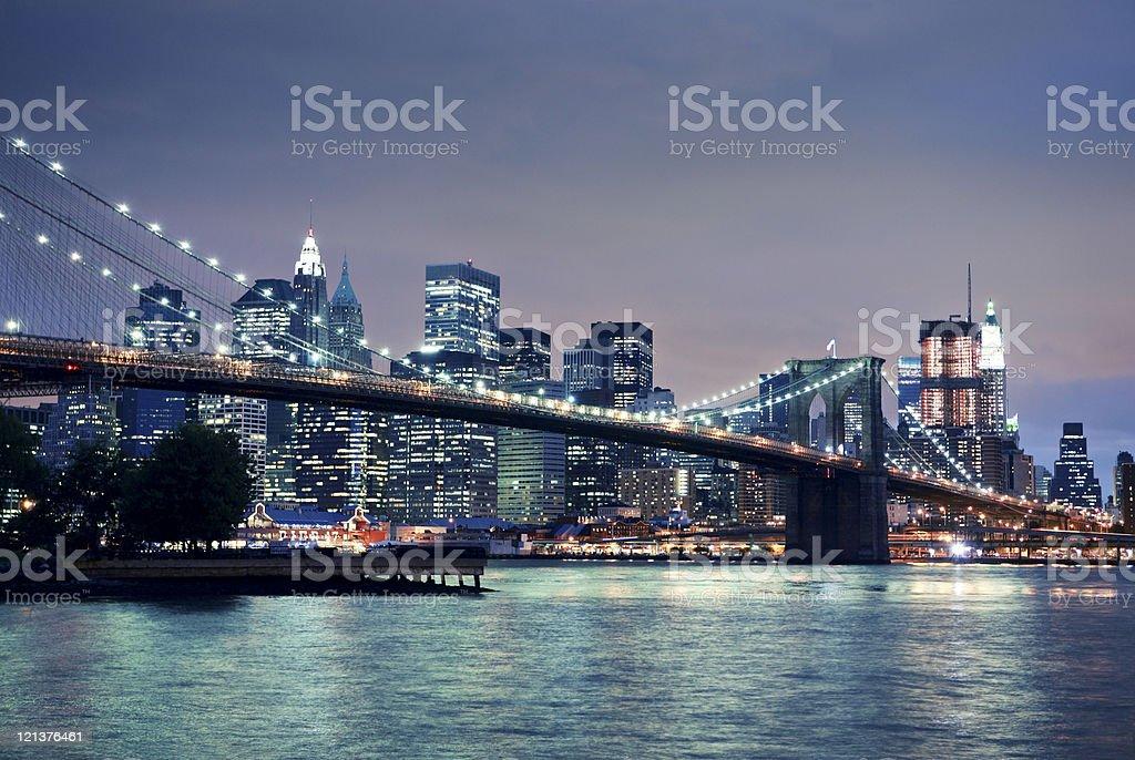 Night view of brooklyn Bridge royalty-free stock photo