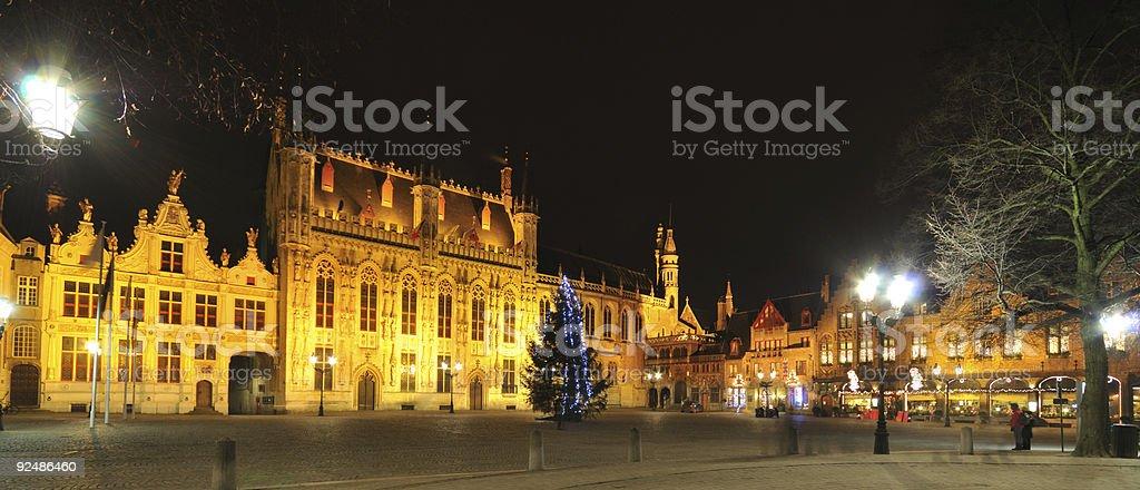 Night view of Brugge, Belgium royalty-free stock photo
