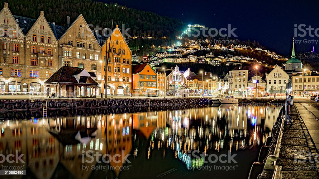 Night view of Bryggen, in the city of Bergen, Norway. stock photo