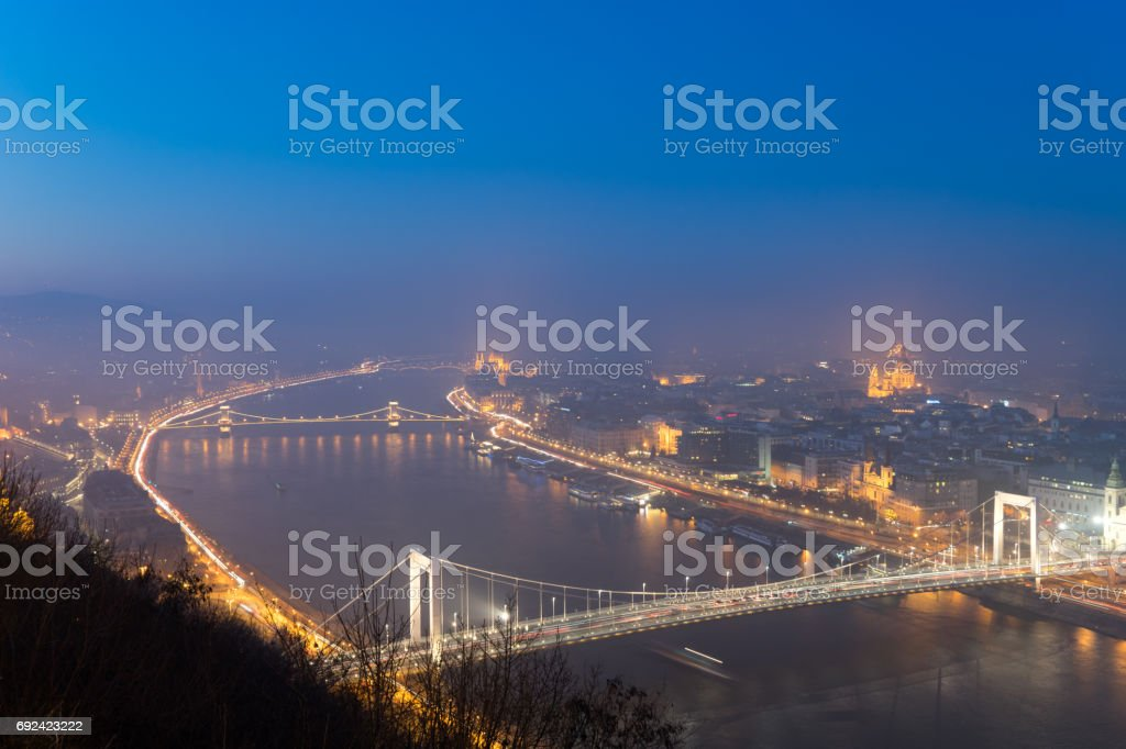Night view of Budapest city seen from Gellert Hill stock photo