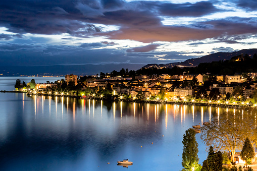 Night view of buildings from montreux