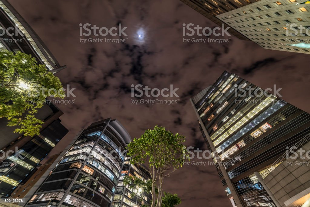 Night view of buildings, from the bottom up, in São Paulo, Brazil. stock photo