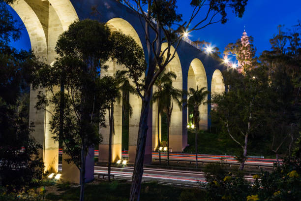 Night View of Cabrillo Bridge in Balboa Park stock photo