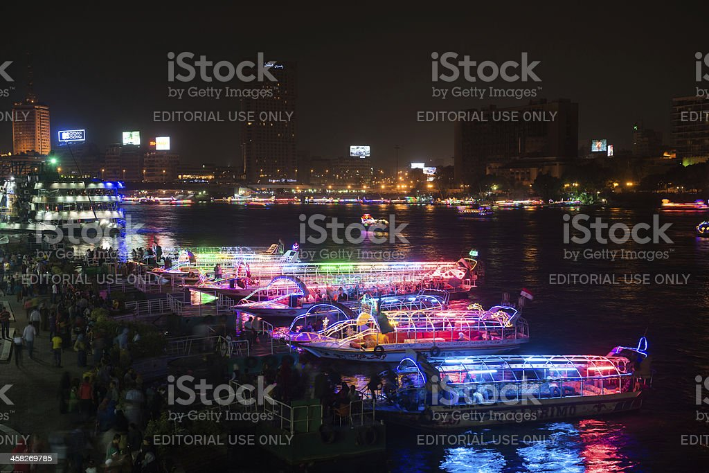 Night view of Cairo from viewing tower stock photo