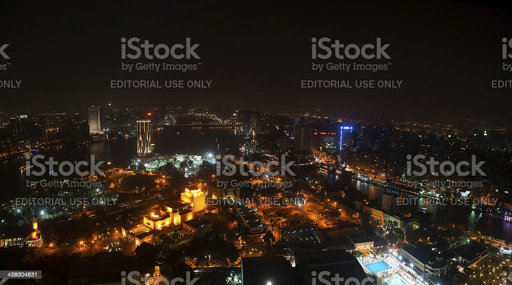Night view of Cairo from viewing tower royalty-free stock photo