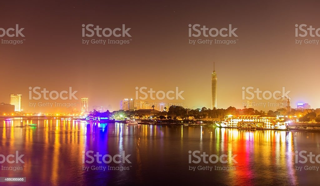 Night view of Cairo over the Nile - Egypt stock photo