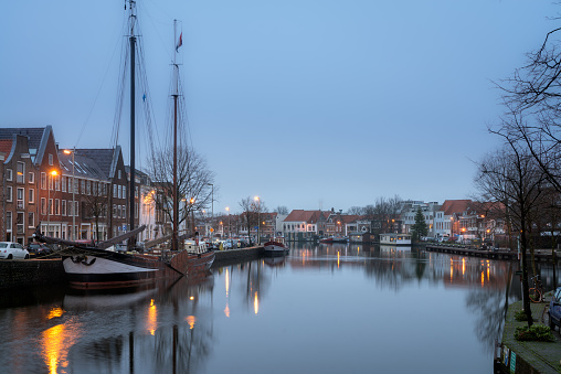 Night view of canal in Haarlem, Netherlands