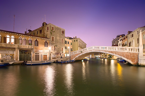 Night view of canals in Venice