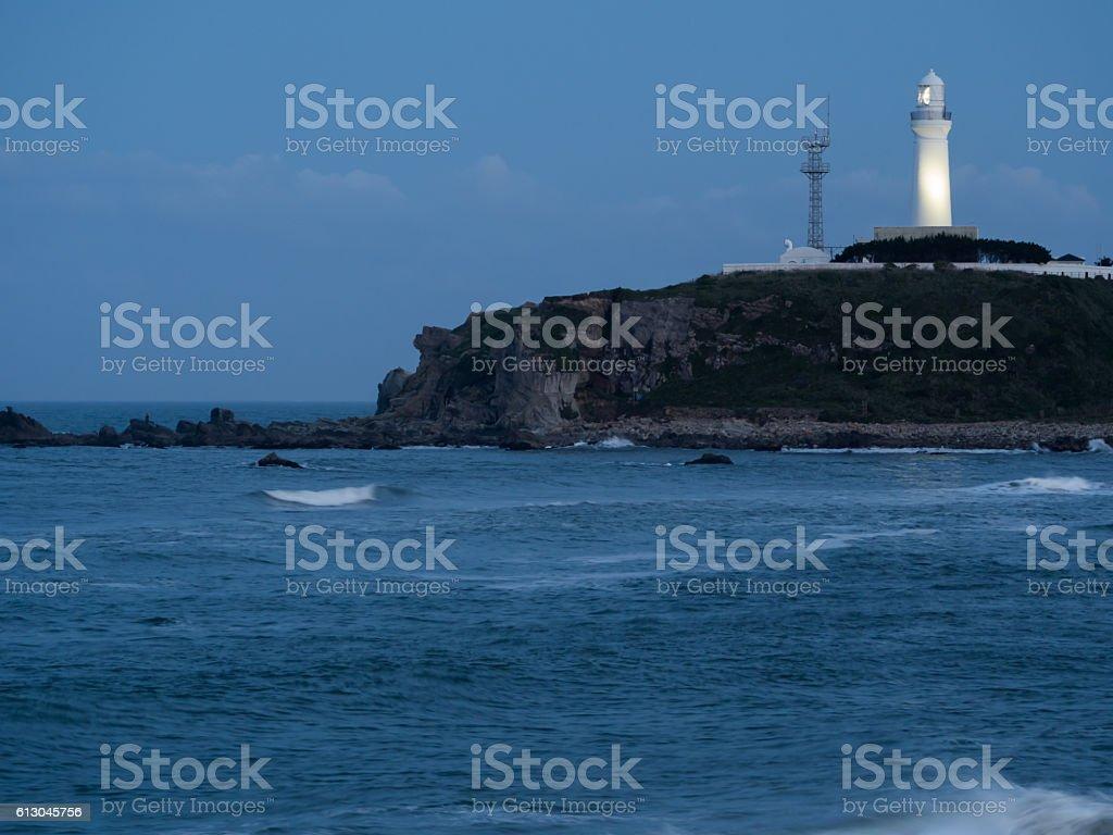 Night view of cape Inubo - Chiba, Japan stock photo